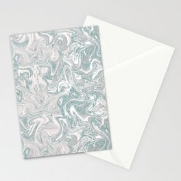 Glamorous Marble Teal and Smoke Pink Stationery Cards
