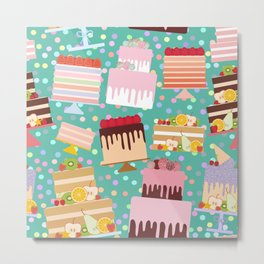 Birthday, valentine's day, wedding, engagement. Set sweet cake, chocolate icing sprinkles Metal Print