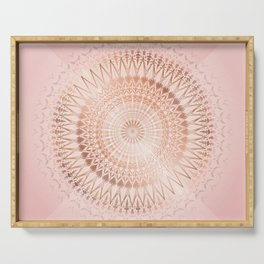 Rose Gold Dusky Pink Geometric Mandala Serving Tray
