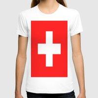 switzerland T-shirts featuring Flag of Switzerland by Neville Hawkins