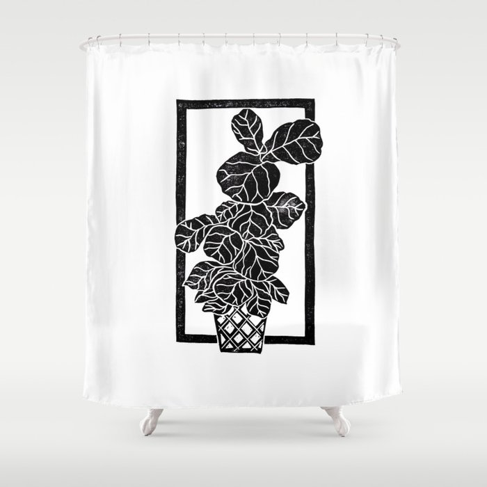Fiddle Leaf Fig Block Print Shower Curtain By Beegreen