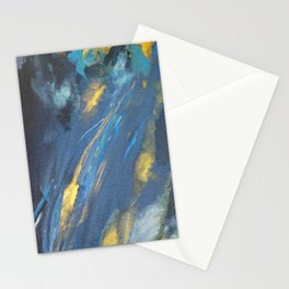 Abstract turquoise gold navy, grey, galaxy Stationery Cards
