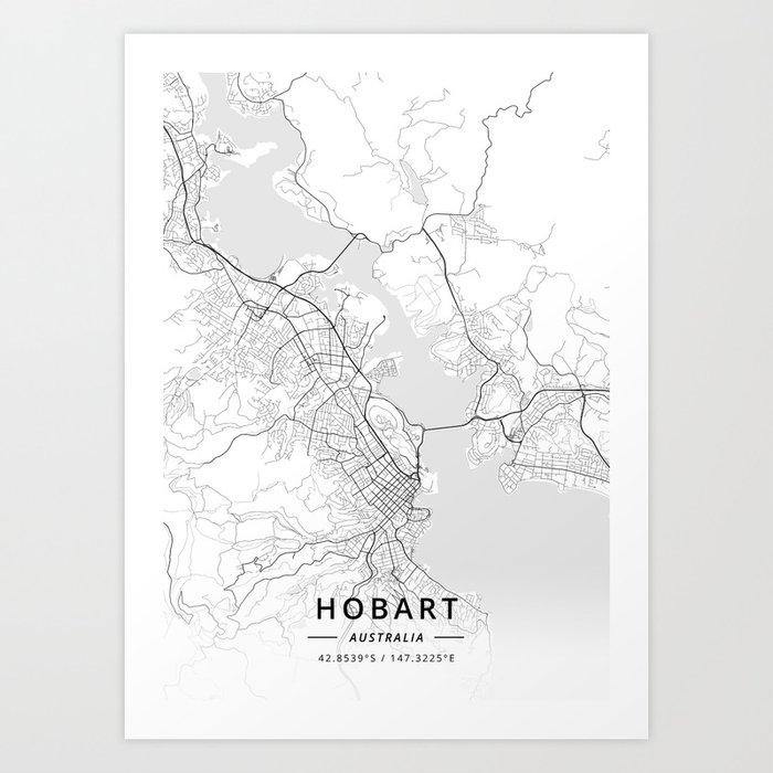 Australia Map Hobart.Hobart Australia Light Map Art Print By Designermapart