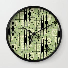 Retro Atomic Mid Century Pattern 771 Sage Wall Clock