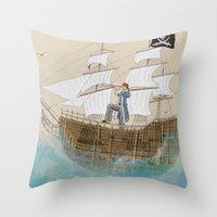 pirate ship Throw Pillows featuring Pirate by Polina Kovaleva