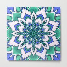 Blue & Mint Green Flower Mandala Metal Print