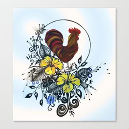 Pen and ink drawing, Rooster art, colorful art, watercolor and digital art Canvas Print