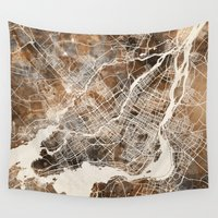 montreal Wall Tapestries featuring Montreal by Map Map Maps