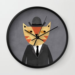 Ginger Cat in a Bowler Hat Wall Clock