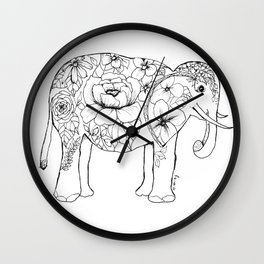 Elephant Full of Florals Wall Clock