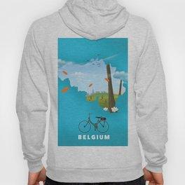 Belgium Map travel poster Hoody