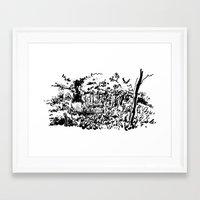 sketch Framed Art Prints featuring sketch by geoffroy dussart