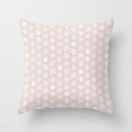 CoastL Snow Flakes . Light Blush Throw Pillow