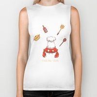 cooking Biker Tanks featuring Cooking Crab by Schewy