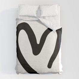 Black and White Heart Duvet Cover
