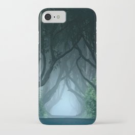 Cold foggy morning in Dark Hedges iPhone Case