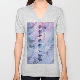Moon Phases on Cloudy Blue Magic Sky #moontravel #decor #collage Unisex V-Neck