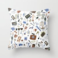 wallet Throw Pillows featuring Girly Objects by Yuliya