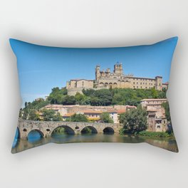 Old cathedral and bridge in Beziers, southern France Rectangular Pillow