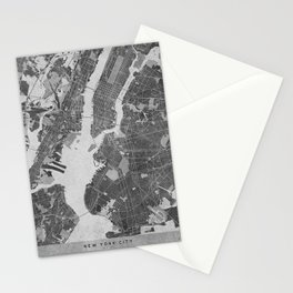 Vintage map of New York City in gray Stationery Cards