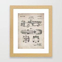 Fire Truck Patent - Aerial Fireman Truck Art - Antique Framed Art Print