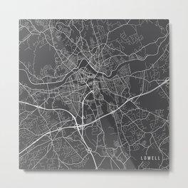 Lowell Map, USA - Gray Metal Print