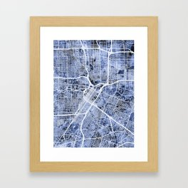 Houston Texas City Street Map Framed Art Print
