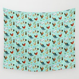 Cute seamless roosters pattern cartoon Wall Tapestry