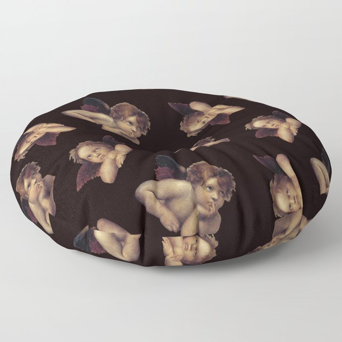Classical Cherub Toss in Black Onyx Floor Pillow