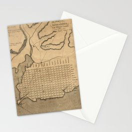 Vintage Map of Alexandria Virginia (1798) Stationery Cards