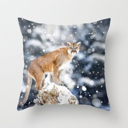 Portrait of a cougar. Beautiful nature animals Throw Pillow