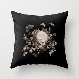 BLACK GOTHIC FLORAL SKULL Illustration Throw Pillow