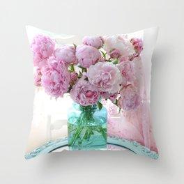 Peonies In Aqua Vase Vintage Romantic Peony Bedroom Decor Throw Pillow