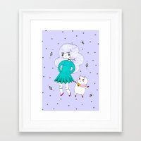 bee and puppycat Framed Art Prints featuring Bee and Puppycat  by Alxndra Cook
