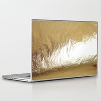 gold foil Laptop & iPad Skins featuring Gold Foil by The Wellington Boot