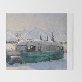 Into the Wild Fairbanks Bus Throw Blanket