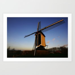 Mill at sunset Art Print