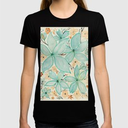 Blue Green and Beige Flower Mix Pattern - Floral Watercolor Custom Art Design T-shirt