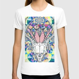 Geometric skull and diamond psychedelic print T-shirt