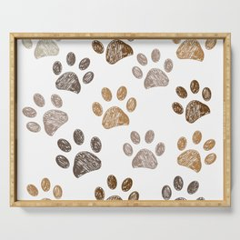 Brown colored paw print background Serving Tray