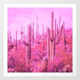 Pink Saguaro Desert Cactus Art Print