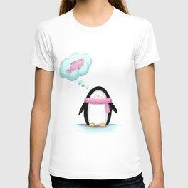 I dream of food -Penguin Illustration T-shirt