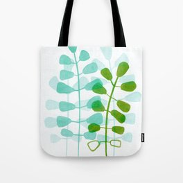 Aqua Green Leaves Watercolor Tote Bag