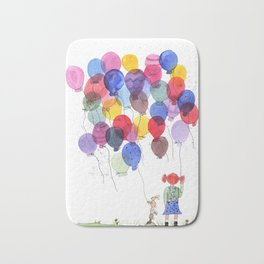girl with balloons whimsical watercolor illustration Bath Mat