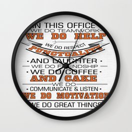 In this office we do teamwork Inspirational Typography Quote Design Wall Clock
