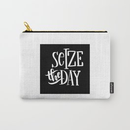 Seize The Day: black Carry-All Pouch