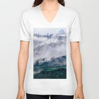 vietnam V-neck T-shirts featuring Foggy Mountain of Sa Pa in VIETNAM by CAPTAINSILVA