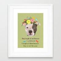 pitbull Framed Art Prints featuring Pitbull by Elisandra