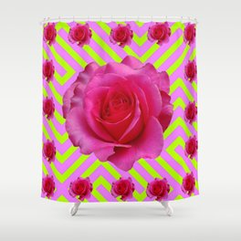 CONTEMPORARY CHARTREUSE PINK ROSES ABSTRACT GARDEN ART Shower Curtain