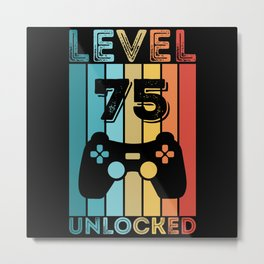 Gaming Level 75 Unlocked 75th Birthday Gift Gamer Metal Print